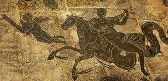 Cupidon romain antique Ostia Antica Rome de cheval de femme Images libres de droits