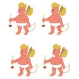 Cupidos de la historieta del vector que se colocan con las flechas ilustración del vector