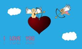Cupidos e coração Imagens de Stock