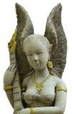 Cupidostandbeeld op de witte concrete muur wordt gefotografeerd die Stock Fotografie