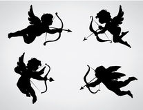 Cupids. Four cute Valentine's angel silhouette royalty free illustration