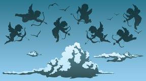 Cupids above clouds Stock Photos