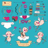 Cupids, arrows, hearts and other design elements Royalty Free Stock Image