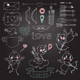 Cupids, arrows, hearts and other design elements Royalty Free Stock Photos