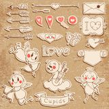 Cupids, arrows, hearts and other vintage elements Stock Photography