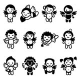 Cupids big set, collection angels Royalty Free Stock Image