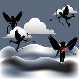 Cupids among the clouds royalty free stock photography