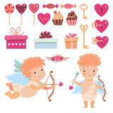 Cupids and decor for Valenines day Stock Photos