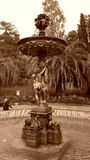 Cupids fountain in the city park, Sochi, Russia. Cupids fountain in the park Dendrarium, Sochi landmark, Russia, black and white photo Stock Images