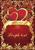 Cupids with hearts. Two hearts with cupids and a gold ornament along the edges of sheet Royalty Free Stock Photos