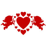 Cupids and hearts Royalty Free Stock Photo