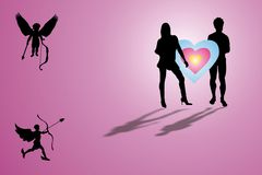 Cupids and lovers. Colored illustration with female, male and cupid shapes Royalty Free Stock Photos