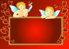Cupids with messageboard. Cupids with red messageboard, illustration stock illustration