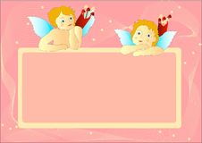Cupids with pink messageboard. Two Cupids with pink messageboard, illustration vector illustration