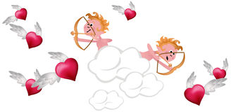 Cupids Shooting Hearts Stock Photo