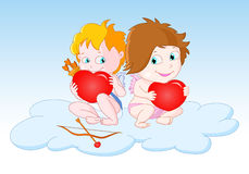 Cupids Sitting on the Cloud Royalty Free Stock Photography
