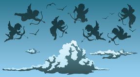 Cupids sobre las nubes libre illustration