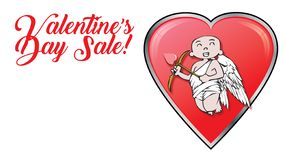 Cupids with Valentines Day Sale retail logo and hearts royalty free stock photos