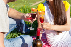 Cuple drinking wine Stock Images