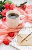 Cupof咖啡用chicolate糖果 免版税图库摄影