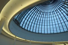 Cupola. Round glass cupola from inside. Blue City shopping mall Stock Photos