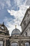 Cupola of the Albertinum and beautiful cloudy sky. Museum of Modern Art. Dresden, Germany Stock Image