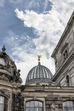 Cupola of the Albertinum and incredible cloudy sky. Museum of Modern Art. Dresden, Germany Stock Photos