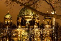 Cupola berlinese alla notte immagine stock