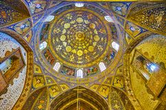 The cupola of Bethlehem Church in Isfahan, Iran. ISFAHAN, IRAN - OCTOBER 20,2017: The dome and walls of Armenian Bethlehem Church in New Julfa are decorated with Royalty Free Stock Image