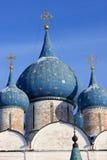 Cupola blu della cattedrale di natività Immagini Stock