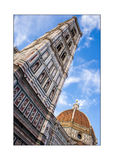 Cupola of Brunelleschi and Giotto`s tower Bell in Florence, Ital Stock Images