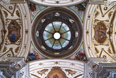 Cupola and ceiling of church La chiesa del Gesu or Casa Professa Royalty Free Stock Images