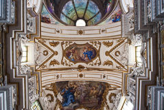 Cupola and ceiling of church La chiesa del Gesu or Casa Professa. Baroque church by architect jesuit Giovanni Tristano was completed in year 1636 Royalty Free Stock Photos