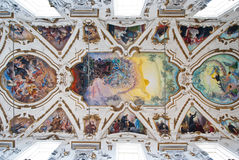 Cupola and ceiling of church La chiesa del Gesu or Casa Professa. Modern fresco of Last judgment by Frederico Spoltoze from year 1954 and oder works on ceiling Stock Photos