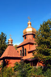 Cupola and Cross. Of the Society of St. John, top simple monastery in Upper Penninsula, Michigan.  Building is along the order of the Russian Orthodox Stock Photography