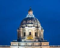 Cupola del Campidoglio dello stato del Minnesota a penombra Fotografie Stock Libere da Diritti