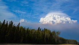 Cupola del fumo sopra McMurray forte Alberta Immagine Stock Libera da Diritti