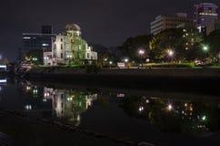 Cupola della bomba atomica di vista di notte Fotografia Stock