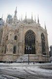 Cupola della cattedrale di Milano in inverno immagine stock libera da diritti