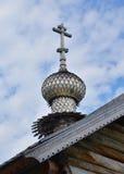 Cupola della chiesa di legno in Kizhi Fotografie Stock Libere da Diritti