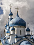 Cupola della chiesa ortodossa della natività in Srednyaya Rogatka Immagini Stock Libere da Diritti
