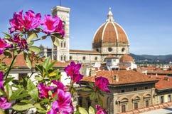 Cupola della fine di Santa Maria del Fiore della chiesa della cattedrale su al giorno di molla, Firenze, Italia, retro tonificato fotografia stock libera da diritti