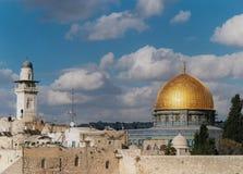 Cupola della roccia e del minareto della catena immagini stock libere da diritti