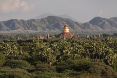 Cupola of Dhamma Ya Zi Ka Pagoda Bagan. Panoramic View of the archaeological park of the ancient temples and pagodas of Bagan. Myanmar royalty free stock image