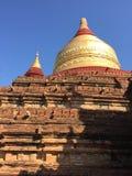Cupola of Dhamma Ya Zi Ka Pagoda Bagan. Panoramic View of the archaeological park of the ancient temples and pagodas of Bagan. Myanmar royalty free stock photos