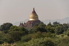 Cupola of Dhamma Ya Zi Ka Pagoda Bagan. Panoramic View of the archaeological park of the ancient temples and pagodas of Bagan. Myanmar stock image