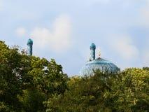 Cupola e minareto principali della moschea di San Pietroburgo dietro gli alberi su un cielo blu del fondo Fotografia Stock