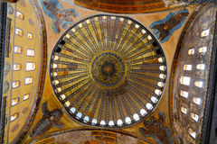 Cupola of mosque Hagia Sofia. Richly decorated main Cupola of mosque Hagia Sophia in Istanbul,Turkey Royalty Free Stock Photo
