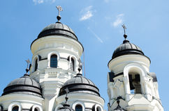 Cupola of orthodox church. Orthodox Church in Moldova with blue sky on the background Royalty Free Stock Photos