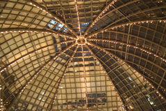 Cupola of retro glass house roof inside view Royalty Free Stock Images